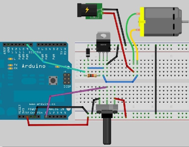 Using Arduino And Tip120 To Control A Dc Motor