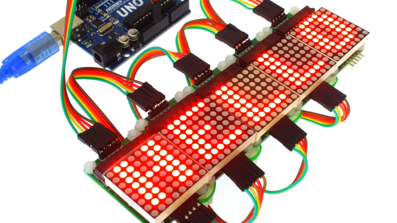 Scrolling text with Arduino Uno and MAX7219 Led Matrix
